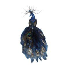 Декоративний Павич BonaDi 499-057 на кліпсі 32 см синій - фото