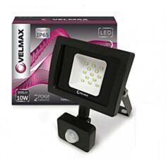 Прожектор светодиодный Velmax LED 10W 6200K 900Lm ІР65 с датчиком движения - фото