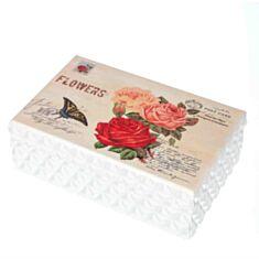 """Дерев'яна скринька """"Троянди з метеликом"""" 130TP 19*12*7 см"""