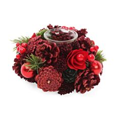 Подсвечник с декором из ягод и красных цветов BonaDi 743-270 - фото