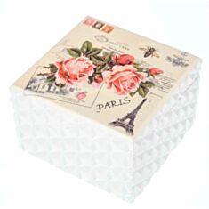 """Дерев'яна скринька """"Троянда Париж"""" 121TP 12*12*8 см"""