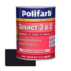 Эмаль Polifarb Защита 3 в 1 антикоррозионная черная 0,9 кг - фото