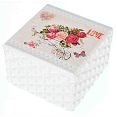 """Дерев'яна скринька """"Троянди у візку"""" 111TP 12*12*8,5 см"""