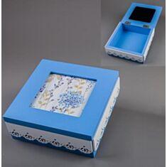 Скринька дерев'яна блакитна 026TP 15*15*6см - фото
