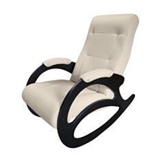 Кресло качалка Happy Lounge модель 4 кремовое/темный орех - фото