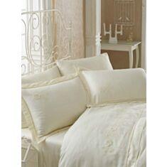 Комплект постельного белья Cotton Box Brode Saten Soft Crem 2,0
