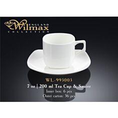 Чашка чайная с блюдцем Wilmax 993003 200 мл - фото