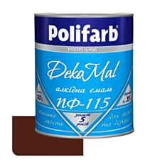 Эмаль алкидная Polifarb DekoMal ПФ-115 темно-коричневая 0,9 кг - фото