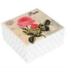 """Дерев'яна скринька """"Троянда Париж"""" 119TP 15*15*8 см"""