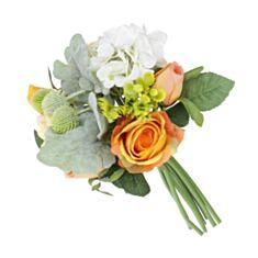 Декоративний букет троянди і гортензія BonaDi DY7-309 30 см білий помаранчевий - фото