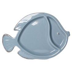 """Тарілка секційна """"Риба"""" блакитна 106338 25*18 см"""
