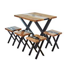 Комплект стіл та табуретки Wood and Resin - фото