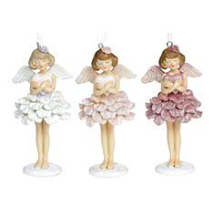 Прикраса ялинкова Ангел з серцем BonaDi 707-844 12 см 3 дизайни - фото